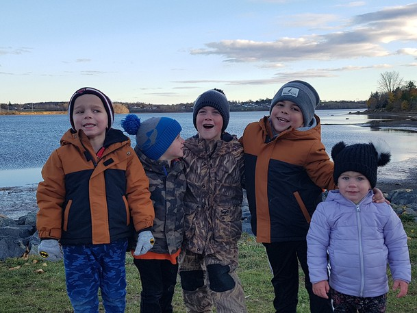 Bryannah Jamesis a reporter at The Northern Light who writes about her children Colton and Jackson in her weeklyMom at Home column. Pictured in this photo are Jackson Doucet, Zachary Dezan, Noah Dezan, Colton Doucet and Katelyn Dezan.
