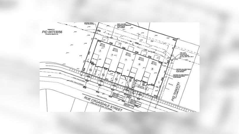 A map shows the location of a proposed five-unit row house development on Croasdale Street, near Millennium Boulevard and Russ Howard Drive.