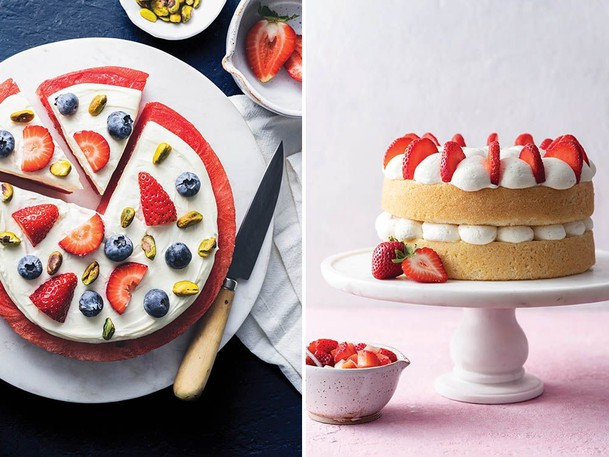 Watermelon pizza, left, and light fluffy sponge cake from Crazy Sweet Creations.