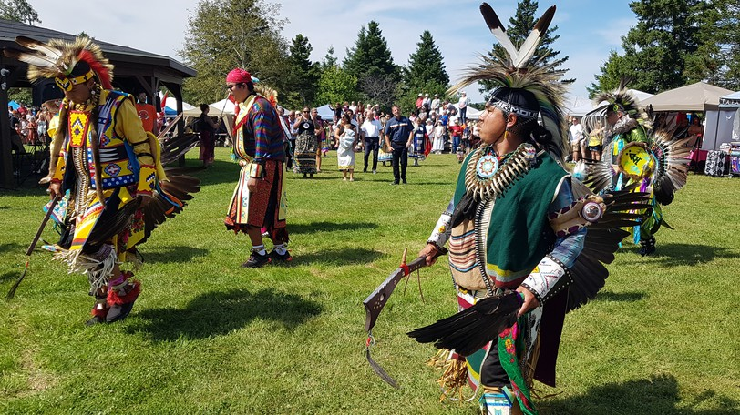 Dancers in their regalia at the Eel River Bar (Ugpi'Ganjig) First Nation powwow on Saturday afternoon.