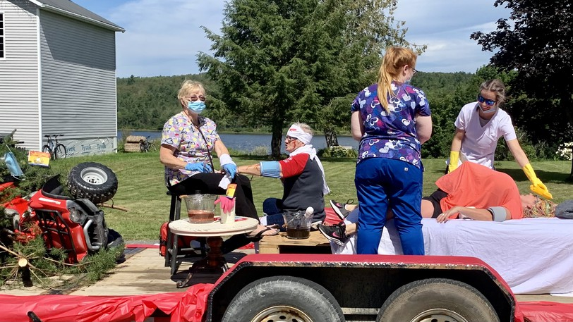 Nurses show off their superhero powers to save lives during the Meductic Field Days parade on Saturday.
