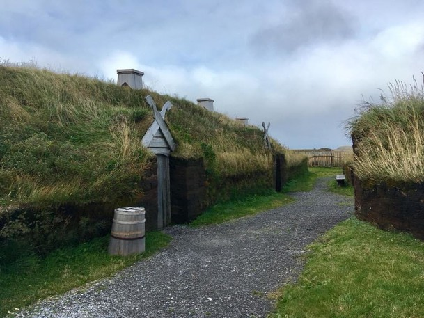 The Viking settlement at L'anse-aux-meadows in Newfoundland. Another similar settlement is believed to be in New Brunswick, but has never been discovered.