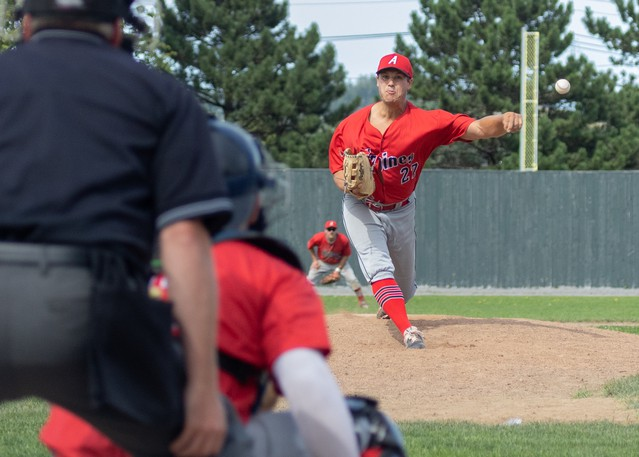 Jay Johnson, pictured here in Game 1 of the New Brunswick Senior Baseball League playoffs, will get the start Tuesday in Game 3 of the semifinal series against Charlottetown at Memorial Field.
