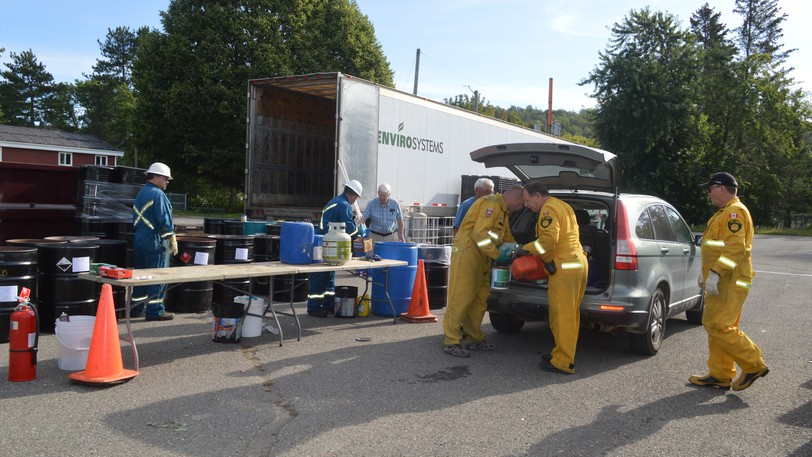 Members of the Perth-Andover Fire Department assisted with Hazardous Waste Disposal Day held in the village on Aug. 28 by the Western Valley Regional Service Commission. Items were also collected in Florenceville-Bristol later in the day and in Woodstock on Aug. 29.