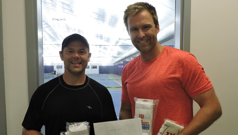 Brothers Pierre Gallant of Moncton, left, and Brian Gallant of Shediac Bridge won the men's open doubles title at the Moncton Open tennis tournament.