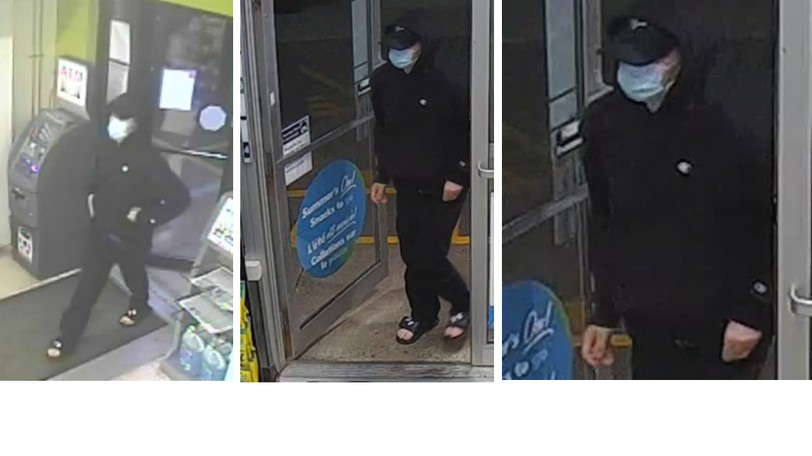 Codiac Regional RCMP are seeking a man who wore black clothing and a mask while robbing two Needs Convenience stores early Sunday morning.