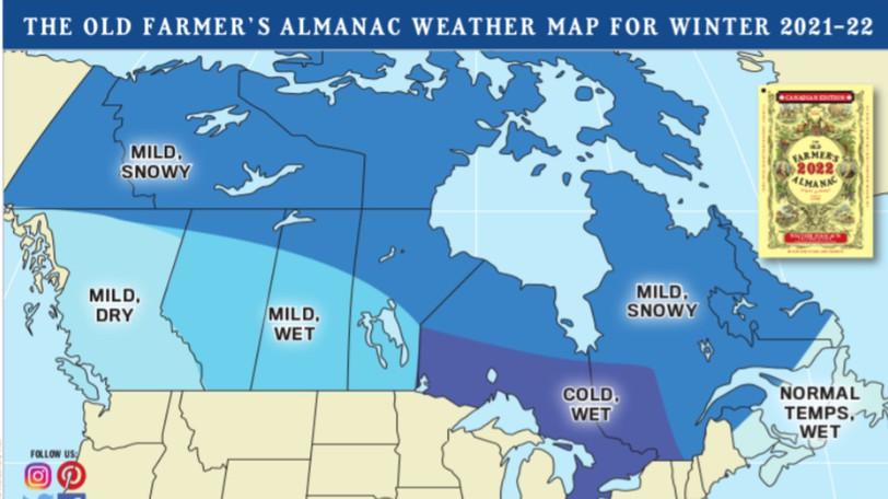 Get ready for a sloppy winter ahead, as this year's Farmer's Almanac predicts plenty of wet storms for Atlantic Canada.