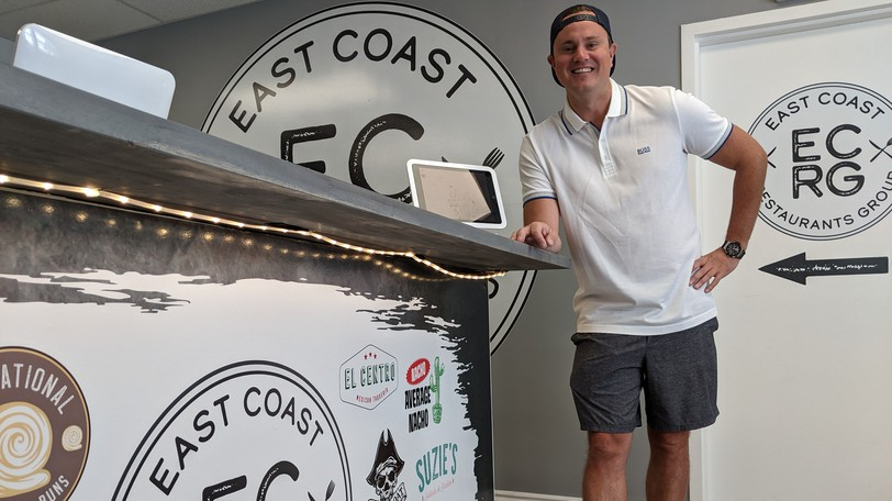 Rob Taylor stands at the take-out kiosk at East Coast Kitchens Group, Atlantic Canada's first virtual kitchen. Located at 601 St. George Boulevard, it will offer 12 different menus and will serve Moncton, Riverview and Dieppe.