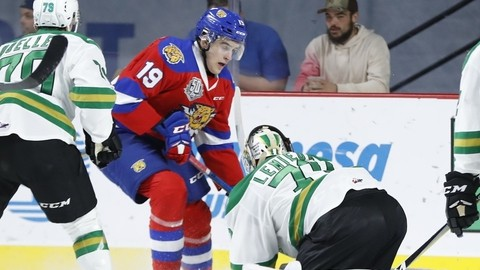 Moncton Wildcats centre Jacob Stewart, middle, is one of four 20-year-olds on the team's roster.