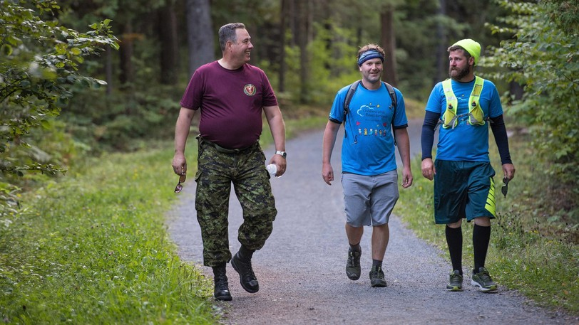 Commander of 5th Canadian Division Support Group, Col. Dwayne Parsons, joined Adam Chamberlain and Eric Scouten on a walk through Base Gagetown on Sept. 12, 2020, during the River Valley Wish Walk to raise funds for Make-A-Wish Canada. Chamberlain and Scouten begin a longer wish walk - 400 kilometres in eight days - on Friday.