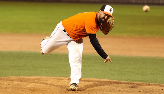 Pitcher Chris Leger and the Moncton Fisher Cats defeated the Chatham Ironmen 9-1 in a New Brunswick Senior Baseball League playoff game at Kiwanis Park on Tuesday.