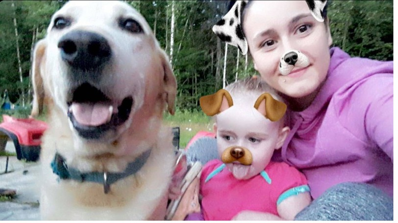 The Arbeau family Upper Blackville is hoping to be reunited with Rosco, a yellow Lab they say was a big bartof their family. This photo shows Rosco with sisters Hillary and Haliey.