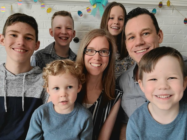 The Crousse family relies heavily on their faith as Beckie Crousse deals with an inoperable cancerous tumour on her spine. This family portrait, taken last Easter, includes three-year-old  Elliot, bottom left, five-year-old Elias, bottom right, Elijah, 14, eight-year-old Ezra, upper centre, and 11-year-old Eden, upper right, along with parents Erling and Beckie.