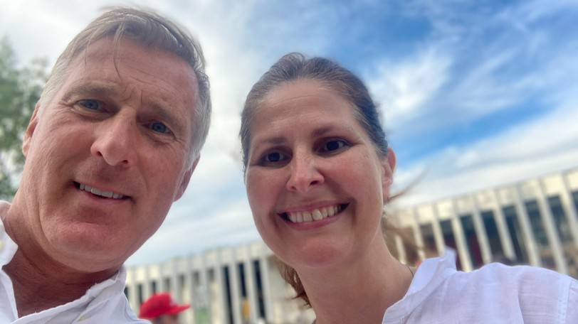 Sharon Bradley-Munn, the People's Party of Canada's candidate in Fredericton pictured here with People's Party Leader Maxime Bernier last weekend, is now off the ballot amid an apparent signature collecting error.