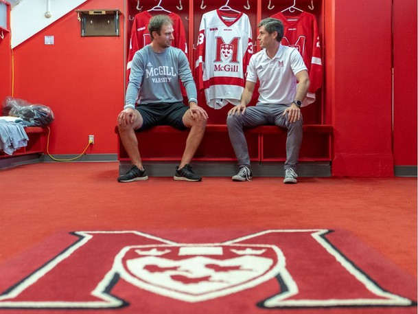 Former Moncton Wildcat Patrick Delisle-Houde, left, a new assistant coach, and David Urquhart, head coach of the McGill University men's hockey team.