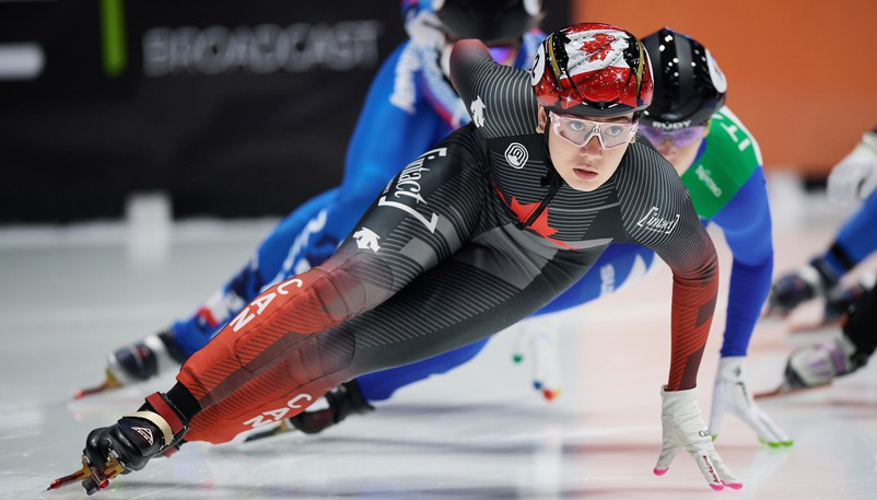 Moncton's Courtney Sarault has been named Speed Skating Canada's short track female athlete of the year.