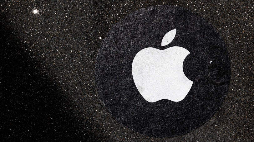 An Apple logo used as a distance marker on the pavement in front of a store in San Francisco on April 26, 2021. The company's shares hit an all-time high this week with its largest gains in nearly six months.