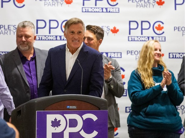 The People's Party of Canada Leader Maxime Bernier introduces party candidates at a campaign rally in Saskatoon, SK on Thursday, September 2, 2021.