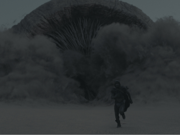 Would you watch a giant sandworm on your phone? A scene from Dune, due out Oct. 22.