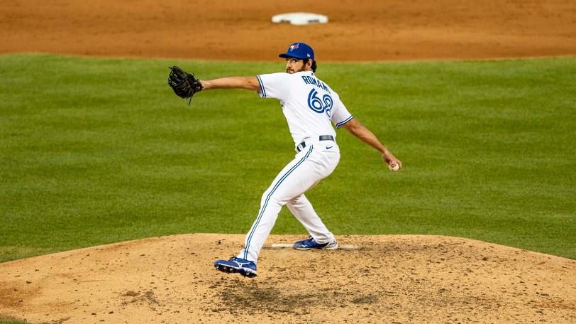 Toronto Blue Jays pitcher Jordan Romano, seen in 2020.