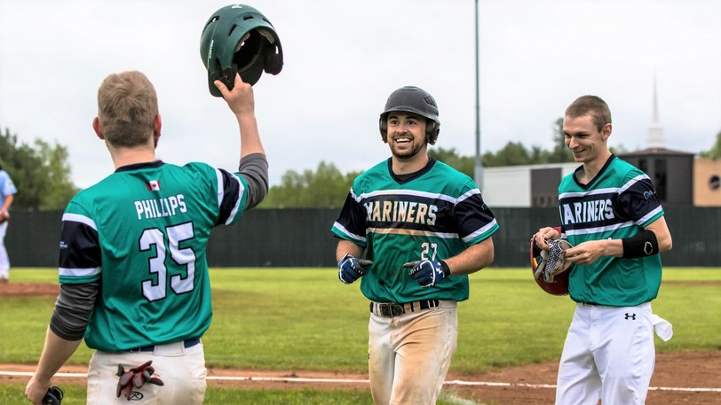 Adam Estey (27) and the Justin Morehouse Exit Realty Mariners will try to dethrone the Jack's Pizza Expos as Capital Intermediate Baseball League champions Tuesday night when the teams play the fifth and final game of the league championship series at Royals Field.