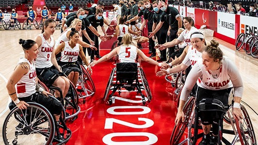 Canada's women's wheelchair basketball team, including Fredericton's Danielle DuPlessis second from left, defeated Japan 68-49 in the fifth-place game at the Tokyo 2020 Paralympics.