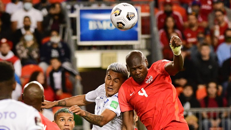 Kamal Miller of the Canadian men's national soccer team and Andy Najar of Honduras clash during a FIFA World Cup Qualifying match at BMO Field in Toronto Sept. 2.