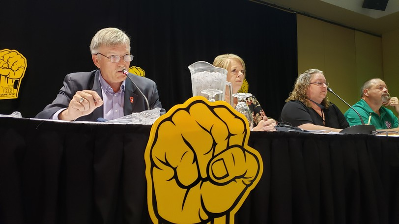 Stephen Drost, CUPE's New Brunswick president, at a recent news conference in Fredericton.