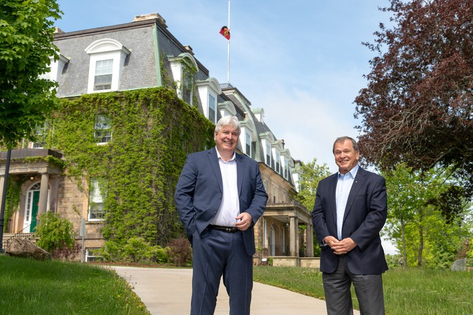Frank McKenna with UNB president and vice-chancellor Dr. Paul Mazerolle.