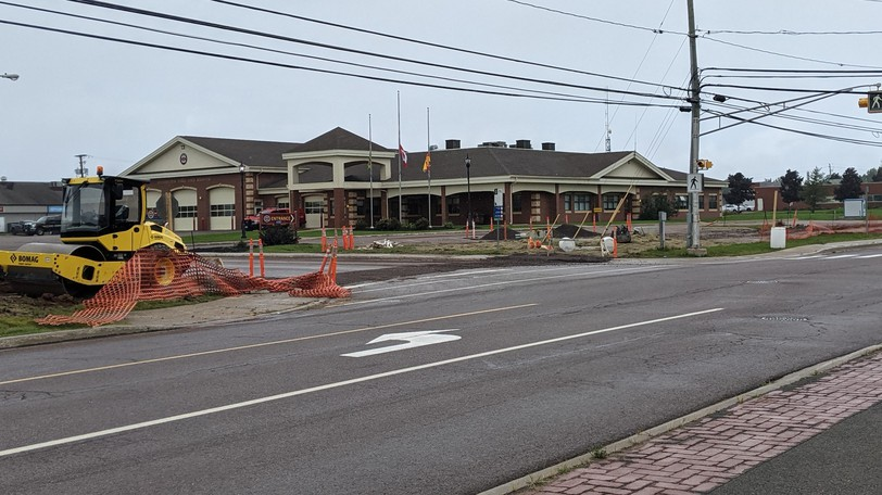 Preliminary work toward construction of a roundabout on Pine Glen Road in front of the Riverview fire station began this week. Construction of the roundabout is expected to continue in 2022.