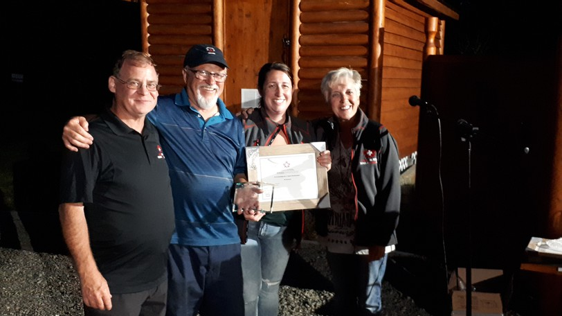 Awards were presented to members of the Sugarloaf Park Ski Patrol recently. This is the Life Saving Award: Luc Gagnon, Alex Macdonald, Stephanie Clark (Division President, presenter) and Marilyn MacDonald.