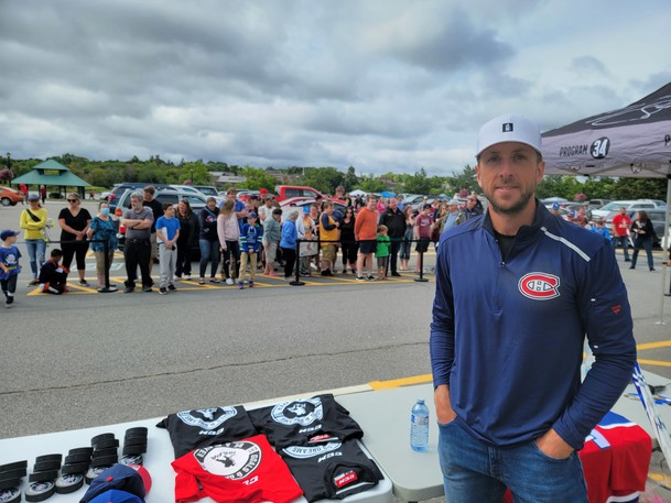 Montreal Canadiens goaltender Jake Allen was back in St. Stephen on Friday visiting the town where he grew up for nine years and donating equipment to the St. Stephen Minor Hockey Association.