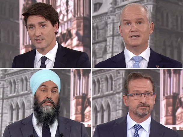 From left, top row: Liberal Leader Justin Trudeau, Conservative Leader Erin O'Toole, NDP Leader Jagmeet Singh and Bloc Quebecois Leader Yves-Francois Blanchet during the French-language leaders debate in Montreal on Thursday. September 2, 2021.