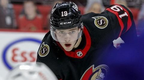 Ottawa Senators right winger Drake Batherson eyes the face-off against the Vancouver Canucks during NHL action last season.