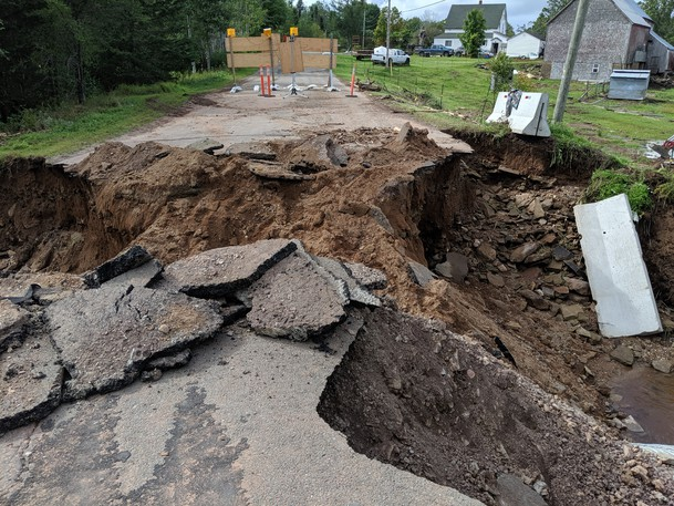 A culvert on Albert Mines Road washed out on Thursday during the heavy rain. It is impassable by vehicles so a detour is put in place for motorists.