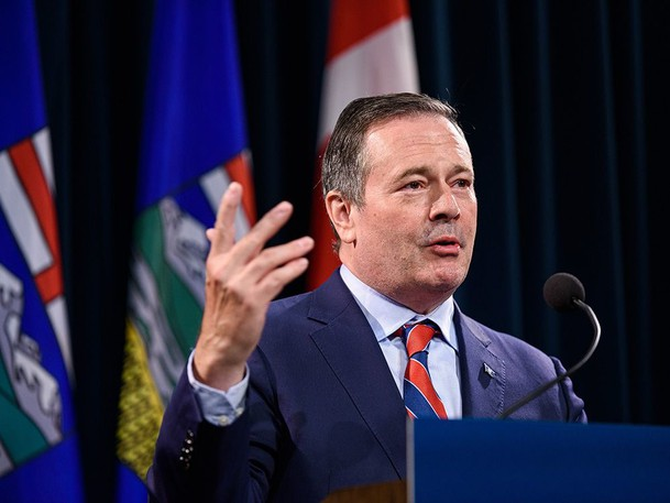Premier Jason Kenney announces the province's new COVID restrictions at McDougall Centre in Calgary on Friday, Sept. 3, 2021.