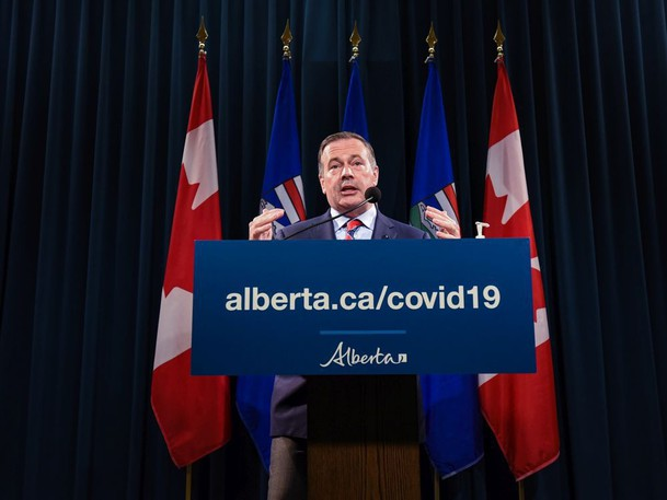 Premier Jason Kenney announces the province's new COVID restrictions at McDougall Centre in Calgary on Friday, September 3, 2021.