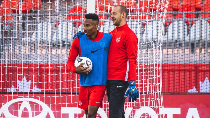 Mark-Anthony Kaye and Milan Borjan are seen at a Canadian men's national team training session Sept. 1 in Toronto.
