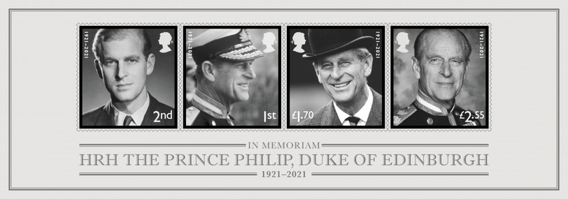 Great Britain's Royal Mail issued this sheet of four mourning stamps in June in memory of Prince Philip, Duke of Edinburg, who died in April at age 99.