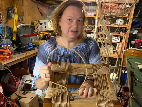 BuffieGideon Lee repairs a chair using cane weaving. The U.S. expat has brought the craft of cane weaving to Saint John after moving to the city last December.