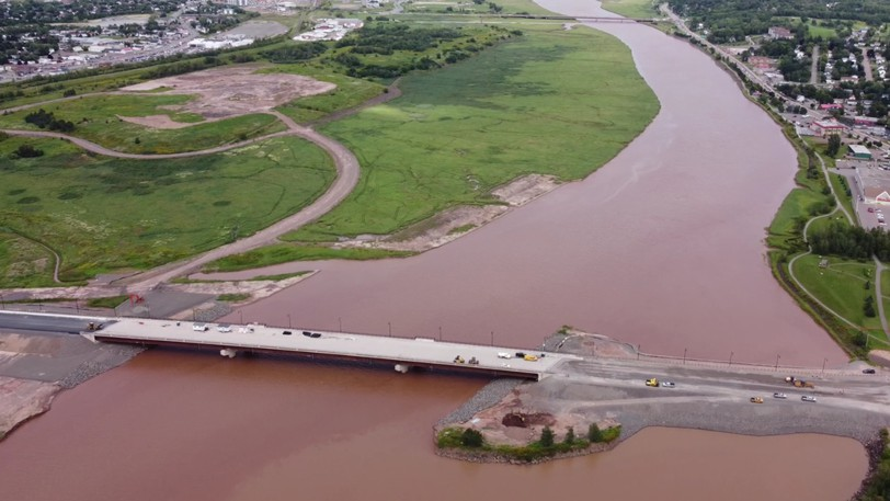 This aerial photo taken from a drone shows construction of the new bridge across the Petitcodiac River to be nearly complete.