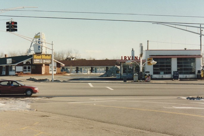 Pictued in this Yvon Doucet photo is Irving and Kent Motel on top of Tetagouche Hill in Bathurst circa1995.Lounsbury Automotiveis now at this location.