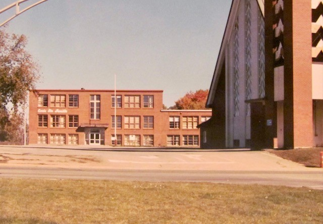 Pictured in this Yvon Doucet photo is the École Ste-Famille Holy Family School on St. Peter Avenue in Bathurst around the 1990s.