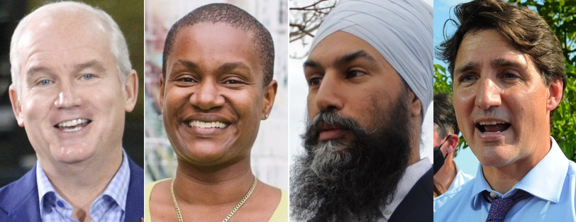 Conservative Leader Erin O'Toole, Green Leader Annamie Paul, New Democrat Leader Jagmeet Singh and Liberal Leader Justin Trudeau.