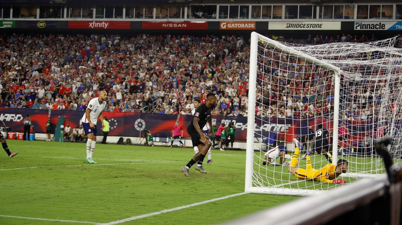 Canada's Cyle Larin scores the tying goal against the United States men's national soccer team during FIFA World Cup qualifying Sept. 5 in Nashville.