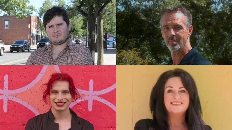 Among the candidates running in the riding of Fredericton in the 2021 federal election are, clockwise from top left, Brandon Kirby with the Libertarian Party of Canada, Shawn Oldenburg with the NDP, independent Jen Smith and June Patterson with the Communist Party of Canada.