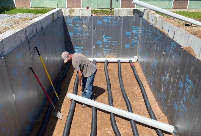 Staff with Rothesay Elementary School began building their geothermal greenhouse in July and August. Funded by a federal government grant, it is now 95 per cent complete.