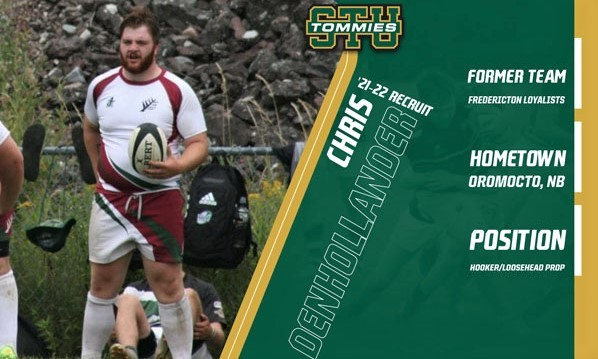 Oromocto's Chris Denhollander has joined the STU Tommies men's rugby team for the 2021 season.