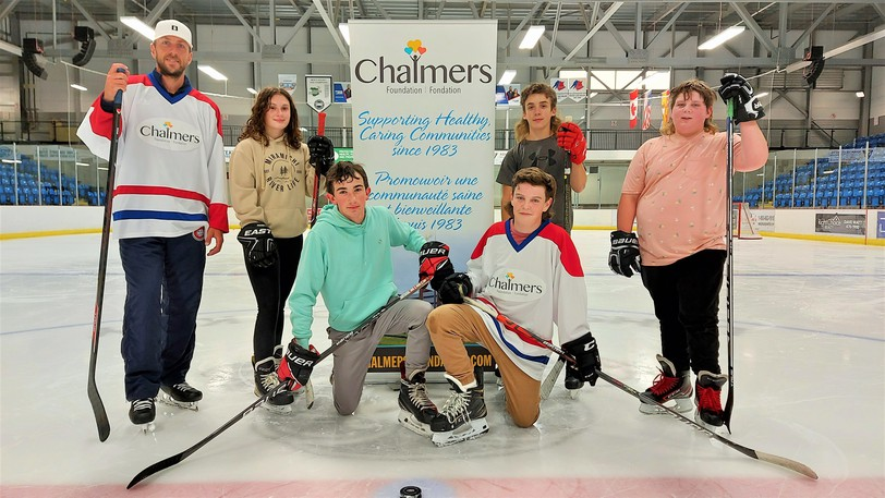 Montreal Canadiens goaltender Jake Allen had a one-hour skate at Willie O'Ree Place on Tuesday with, from left, Lily Jardine, Dawson Moir and Austin Gorman, and front row, Brayden Gilks and Matt Pond. Pond was the raffle winner for the Chalmers Foundation fundraiser and invited four of his friends and teammates.