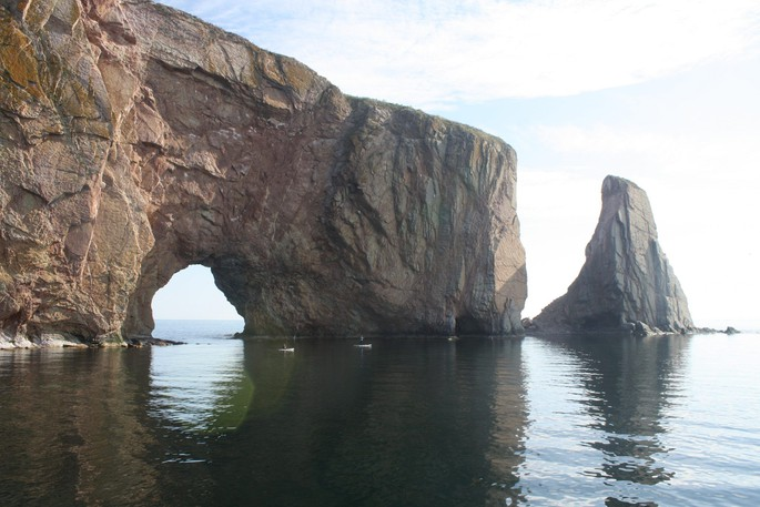 Perce Rock is seen from a boat taking tourists to Ile Bonaventure.